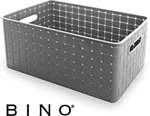 BINO Woven Plastic Storage Basket, Large (Grey)