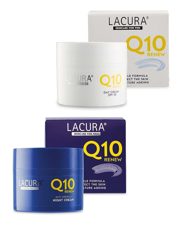 Aldi Lacura Q10 Renew Moisturising Face Creams Night plus Day SPF 20 Anti Wrinkle Anti Aging 50 millilitre lacura by Aldi Store