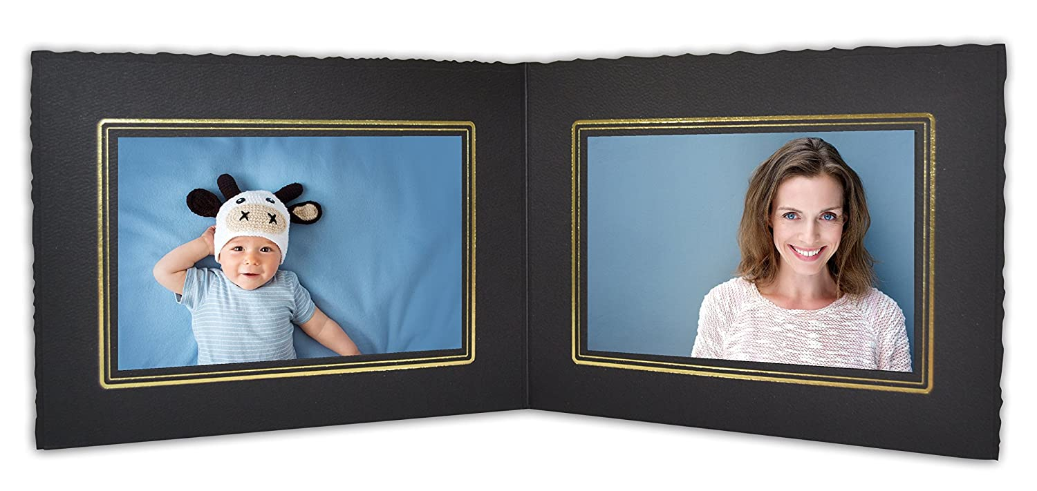 Golden State Art, Cardboard Photo Folder For Double 6x4 Photo (Pack of 50) GS003 Black Color