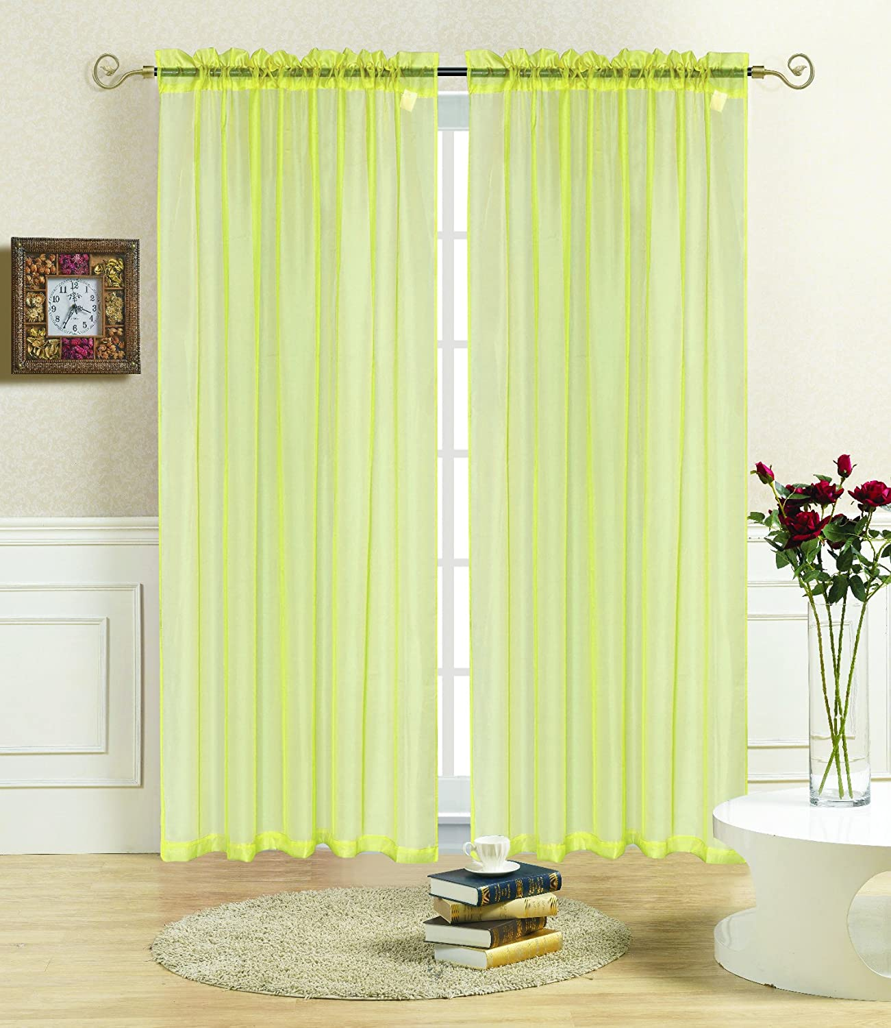 55 x 84 Kashi Home Rena 55X84 Sheer Voile Panel Curtain Beige
