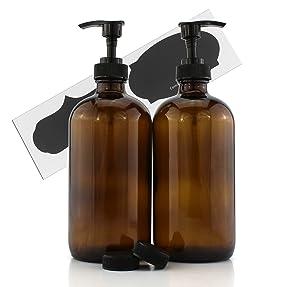 Cornucopia Brands 16-Ounce Amber Glass Bottles w/Pump Dispensers (2-Pack); Refillable Lotion Liquid Soap Pump Brown Bottles + Chalk Labels & Lids, BPA-Free Plastic Tops
