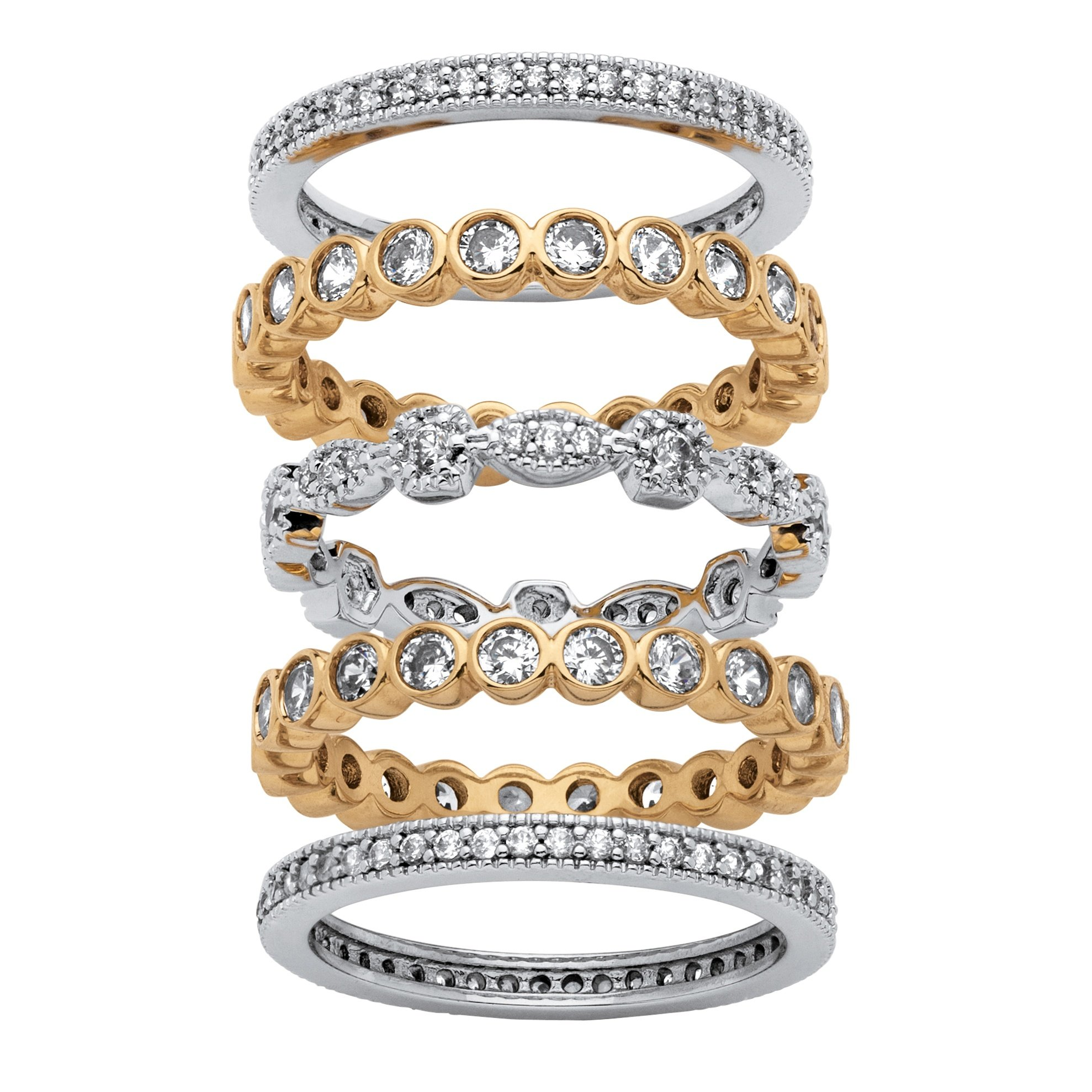 Seta Jewelry Cubic Zirconia 14K Gold-Plated and Silvertone 5-Piece Stackable Eternity Bands