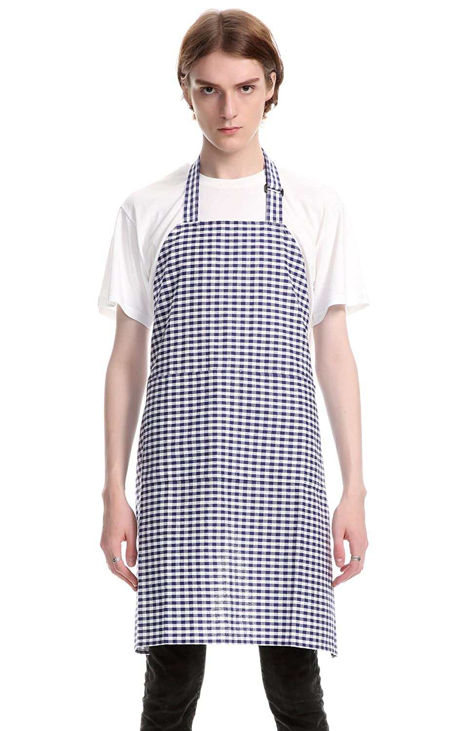 Vintage Gingham Kitchen Aprons Chef Bib Canvas Aprons Christmas Holiday Home Decorative 100% Pure Cotton Aprons in Large Size with Pockets with Pockets by Jennice House(Blue) COMINHKPR105490