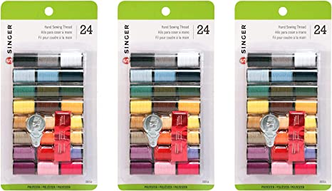 SINGER 00264 Polyester Hand Sewing Thread Assorted Colors 24 Mini-Spools
