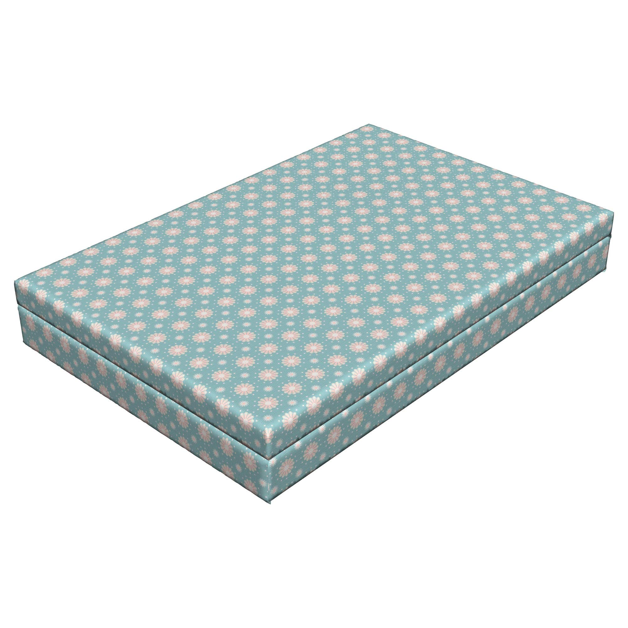 Lunarable Floral Dog Bed, Retro Style Symmetrical Pattern with Flower Motifs Pastel Colored Romantic Spring, Durable Washable Mat with Decorative Fabric Cover, 48'' x 32'' x 6'', Teal Coral