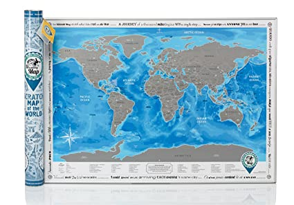 Amazon new personalized scratch off world map poster traveler new personalized scratch off world map poster traveler with blue ocean gumiabroncs Images