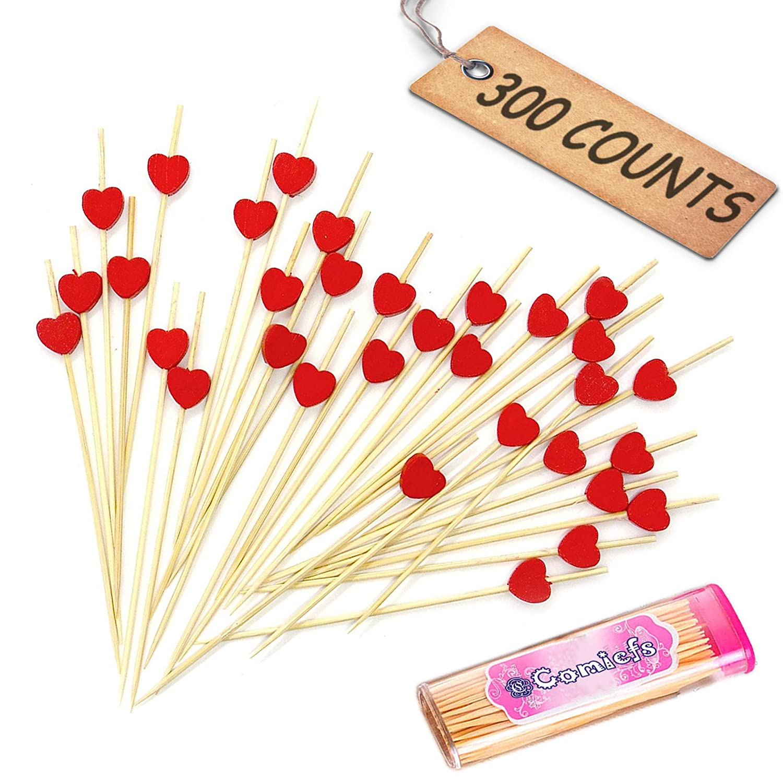 "Comicfs Cocktail Picks Handmade Bamboo Toothpicks 4.7"" Party Supplies 300 Counts BONUS Comicfs Portable Toothpick Box Pocket Set, White Pearl - 01A CM200WP01A"