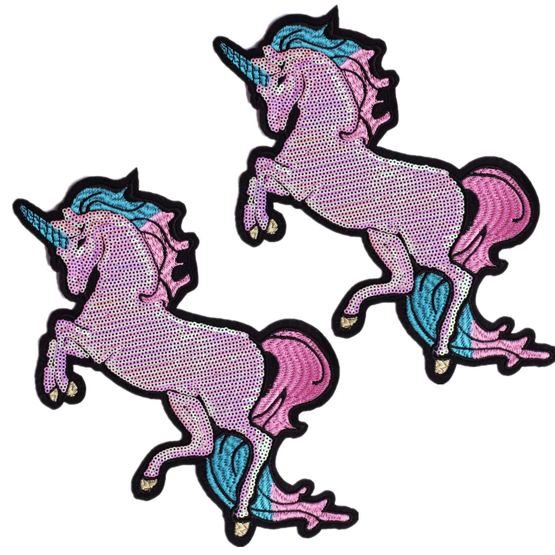 2 PCS Toppe Termoadesive Unicorno Cavallo Animali Grandi con Paillettes per Vestito Cappello Scarpe Jeans ONE TWO THREE