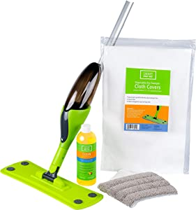 Finish Line Coating Hardwood Floor Smart Spray Mop includes 360 Degree Rotation for Easy Cleaning 1 Reusable Microfiber Pad 5 Disposable Dry Sweeper Cloth for Hardwood Floor, Laminate, Tile