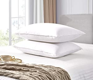 Elle Décor ELLE 330 Thread Count Back Sleeper White Goose Feather and Down Fiber (2 Pack) Bed Pillows, King