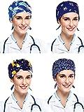 4 قطع فرك كاب منتفخ عمامة كاب قابل للتعديل قبعات منتفخة للنساء والرجال (سلسلة اللون الأزرق)
