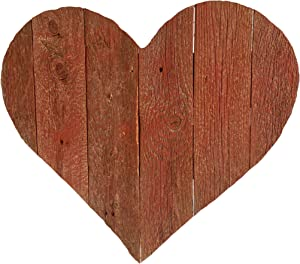 "BarnwoodUSA Rustic Farmhouse Wood Heart | Valentines | Wall Decor | White Wash | Made from 100% Reclaimed and Recycled Wood | 18 1/8"" x 18"""
