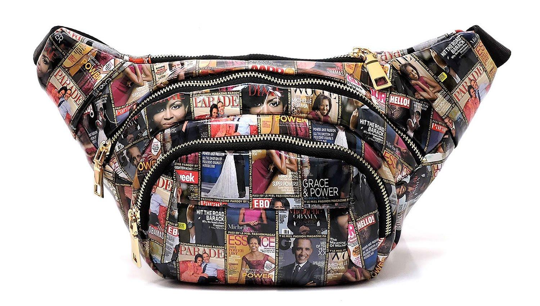 Glossy Michelle Obama Magazine Cover Collage Clutch Cross Body Bag Satchel Shoulder Bag (Q5-Multi)