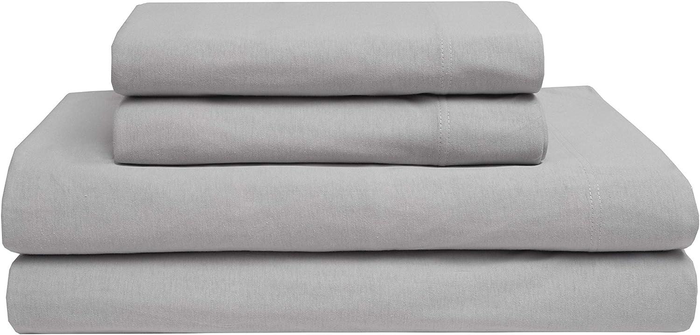 Elite Home Jersey Knit 100% Cotton Sheet Set, Light Grey, Twin
