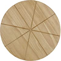 Checkered Chef Pizza Cutting Board - Round 13.5inch Wooden Chopping Board with 8 Grooves to Slice and Portion Your Pizza…