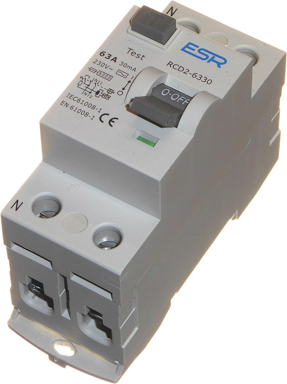 63/A 30/mA RCD /à Trip Interrupteur bipolaire Rail DIN monophas/é 230/V