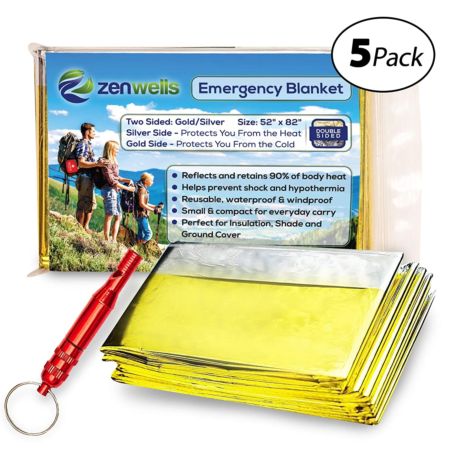 Zenwells Gold Mylar Solar Blankets 5-Pack; Thermal Blanket for Emergency Survival Kit Hiking Backpack Camping Outdoor Survivalist Car Emergencies Travel First Aid Kits Disaster Preparedness Equipment