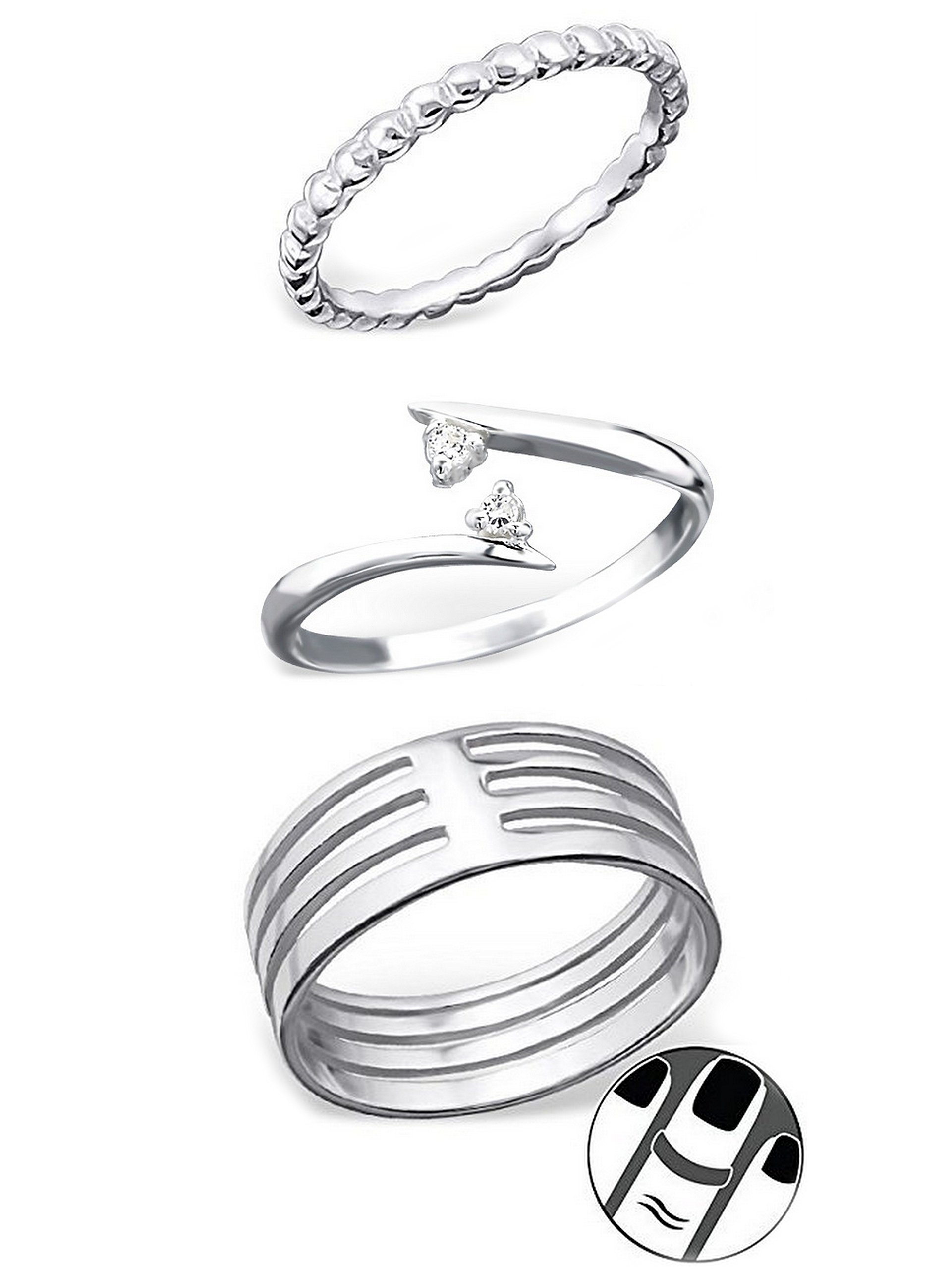925 Sterling Silver set of 3 Textured, Double Crystal, Four Connected Above Knuckle Ring Mid Finger Top