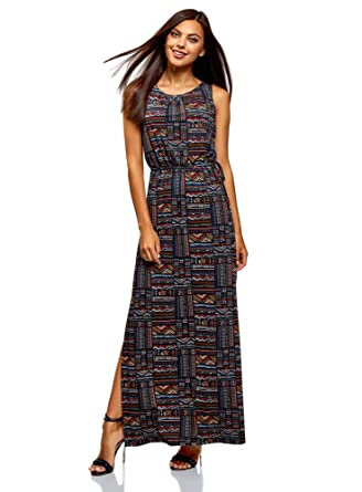 6a8df70c18a oodji Collection Femme Robe Longue à Taille Élastique
