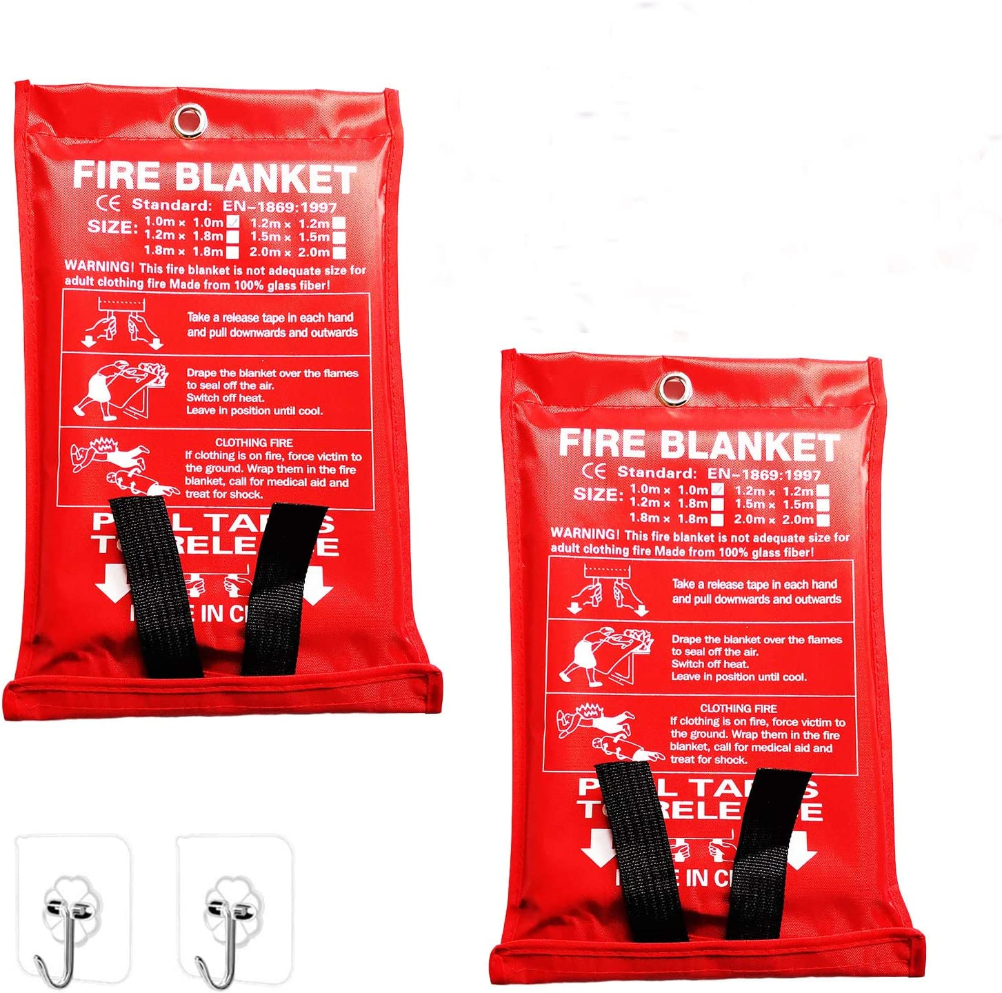 """Yakalla Fire Blanket 40""""x40"""" +2 Hooks, Fiberglass Fire Blanket for Emergency Survival, Flame Retardant Protection, and Heat Insulation, for Kitchen, Fireplace, Car, Camping, Emergency, 2 Pack"""