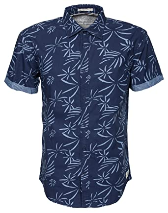 09362141 Jack & Jones Men's Aloha Shirt Plain Blue Size X-Large 100% Cotton ...
