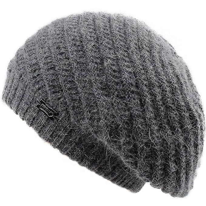 f3dff679f68e6 FURTALK French Beret Knit Hat Angora Wool Winter Beanie Cap Real Fur Pom  Pom Hats Original