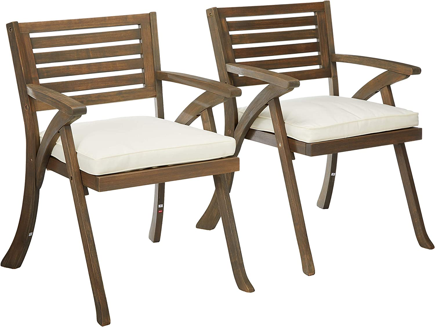 Christopher Knight Home 305765 Helen Outdoor Acacia Wood Dining Chair, Gray and Crème : Garden & Outdoor