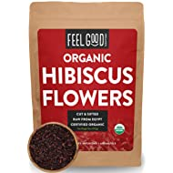 Organic Hibiscus Flowers - Loose Tea (200+ Cups) - Cut & Sifted - Resealable Bag - 100% Raw From Egypt - by Feel Good Organics - 16 Ounce (Pack of 1)