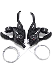 Paraout V-Brake ST EF51 Set, Brake/Shift Lever with Brake Cable, 7 Speed Gears Brake Combination with Gear Indicator for V-Brake, Black (L3 × R7 Gears)