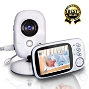 """SereneLife Wireless Video Baby Monitor - Dual System w/ Temperature Thermometer Sleep Camera, 3.2"""" Digital Color Screen Wireless Rechargeable Battery, Audio Speaker and Portable Mobile Clip - SLBCAM20"""