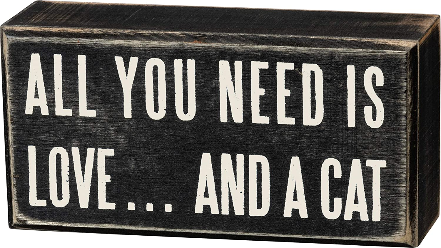 Primitives by Kathy Classic Box Sign, 5 x 2.5-Inches, Love and A Cat