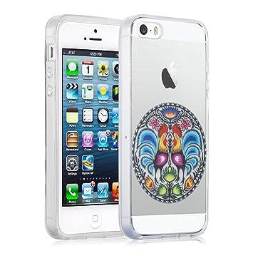 Funda iPhone 5/5s y iPhone SE Case, JAMMYLIZARD Funda De Silicona Flexible Gel Transparente Sketch Back Cover, FOLCLORE GALLOS