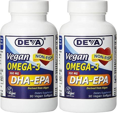 Deva Vegan DHA-EPA Nutritional Supplement, Non-Fish Derived from Algae, 300 mg Potency, 90 Vegetarian Softgels - Pack of 2