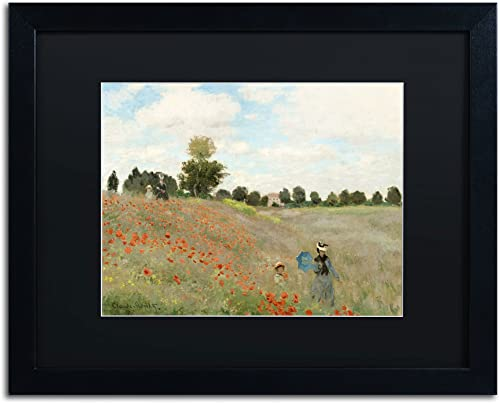 Wild Poppies Near Argenteuil Framed Artwork by Claude Monet, 16 by 20-Inch, Black