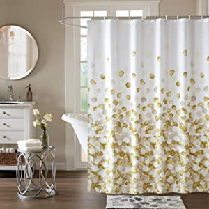 Shower Curtain Set for Bathroom, Fabric Fall Shower Curtains Heavy Duty Waterproof Colorful Funny with 12Hooks,72x72inch (Gold)