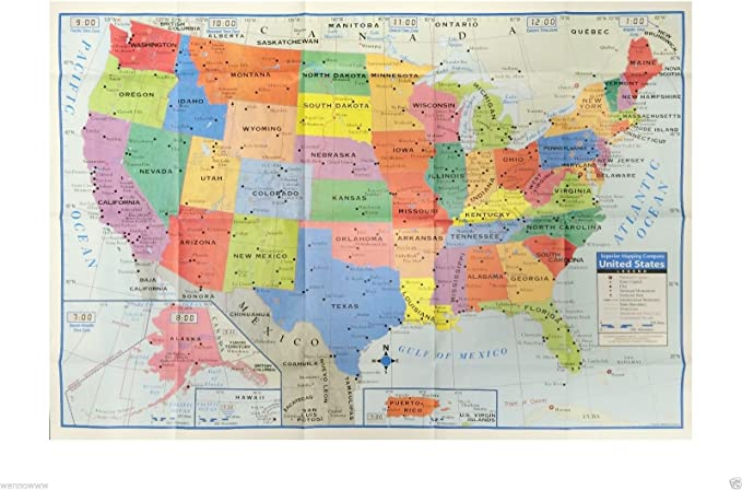 wennow EE. UU. ESTADOS UNIDOS AMÉRICA mapa tamaño póster decoración de pared grande Mapa de los Estados Unidos 40