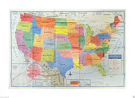 WennoW USA United States America Map Poster Size Wall Decoration Large Map  of The USA 40\