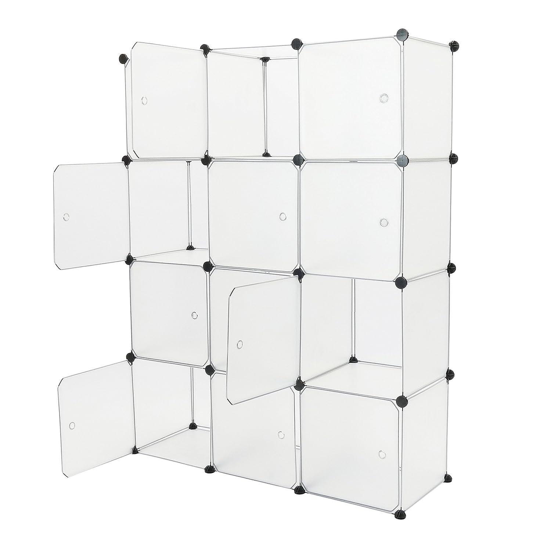 Armario organizador modular Estanter/ías de 12 cubos de 35x35cm pl/ástico blanco con puertas PrimeMatik DY033
