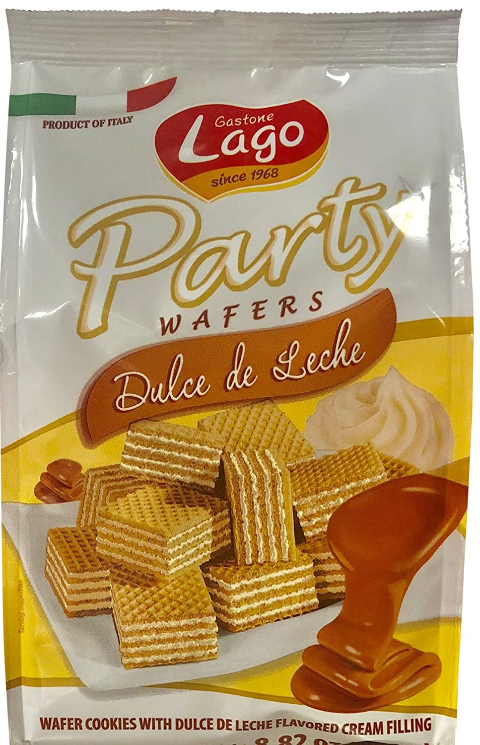 Amazon.com: Gastone Lago Party Wafers Cookies Cream Filling 8.82 oz, 250g (Dulce De Leche, 1-Pack)