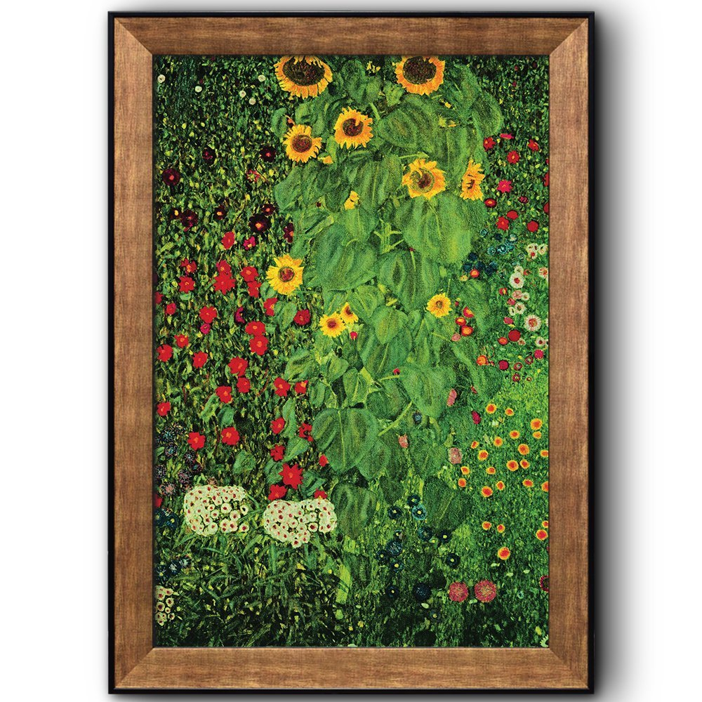 Farm Garden With Sunflowers By Gustav Klimt Framed Art