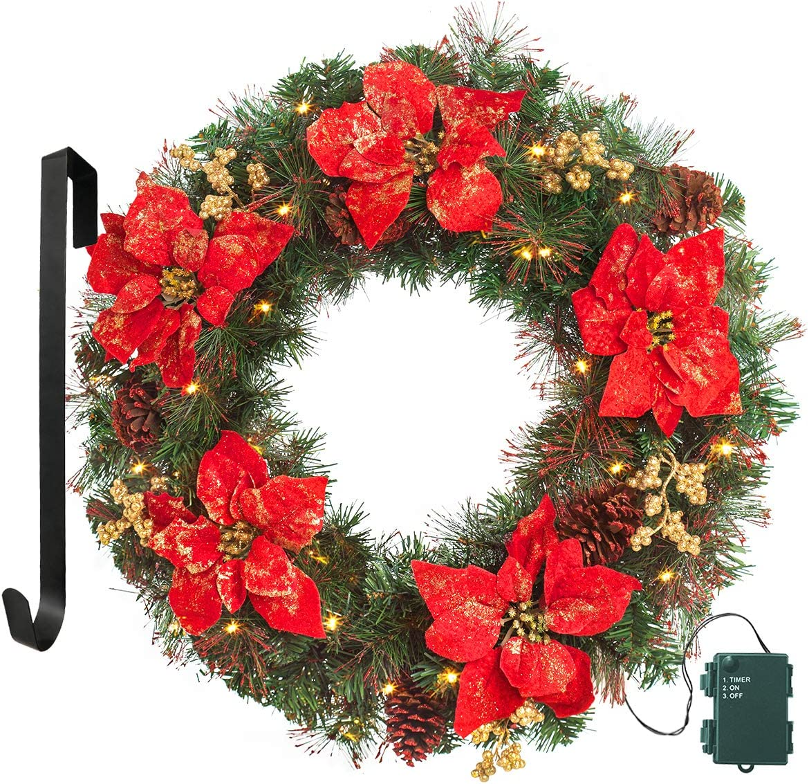 Lifefair Prelit Christmas Wreath 24 Artificial Christmas Wreath Flocked With Mixed Decorations And 50 Battery Operated Led Lights Home Kitchen Kolenik Seasonal Décor