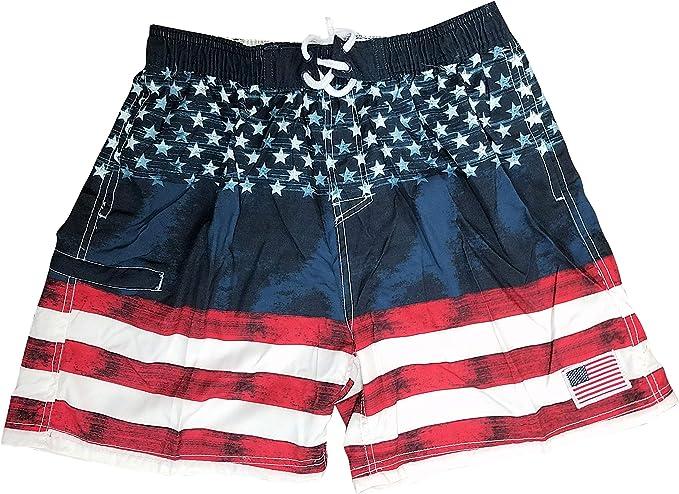 Boys  Patriot Swim Trunks American Flag Swimwear Shorts USA Swimtrunk