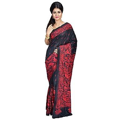 e42a480d66422 SareesofBengal Women s Bangalore Silk Handloom Kantha Stitch Saree with  Blouse Piece (K031