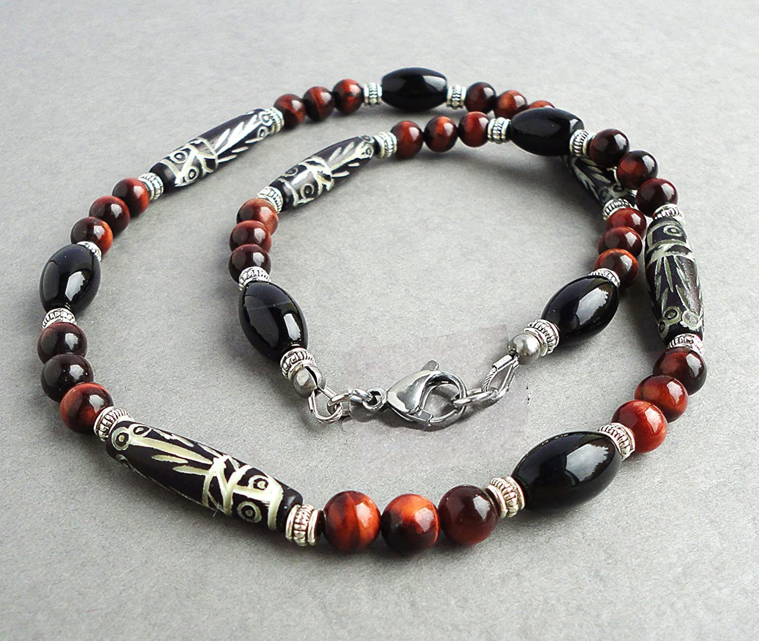 Mens Tribal Style Necklace - Carved Bone, Black Onyx, Red Tiger Eye Gemstone Beaded, Handcrafted