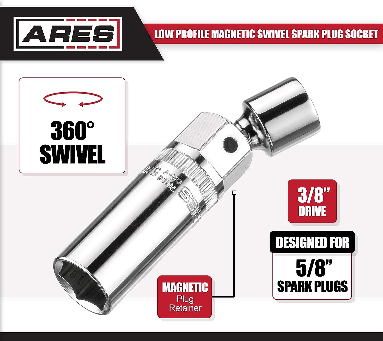 Dado magnético giratorio para bujías de 3/8 pulgadas (0,95 cm), ARES 70196, extensión giratoria de 3,5 pulgadas (8,9 cm), permite el acceso a la mayoría de ...