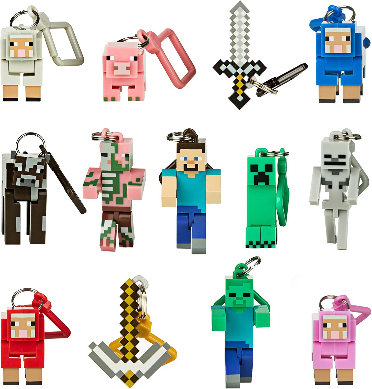 """10x 3/"""" Minecraft Series 4 Hangers Collect Toys Keychain Action Figures Keyring"""