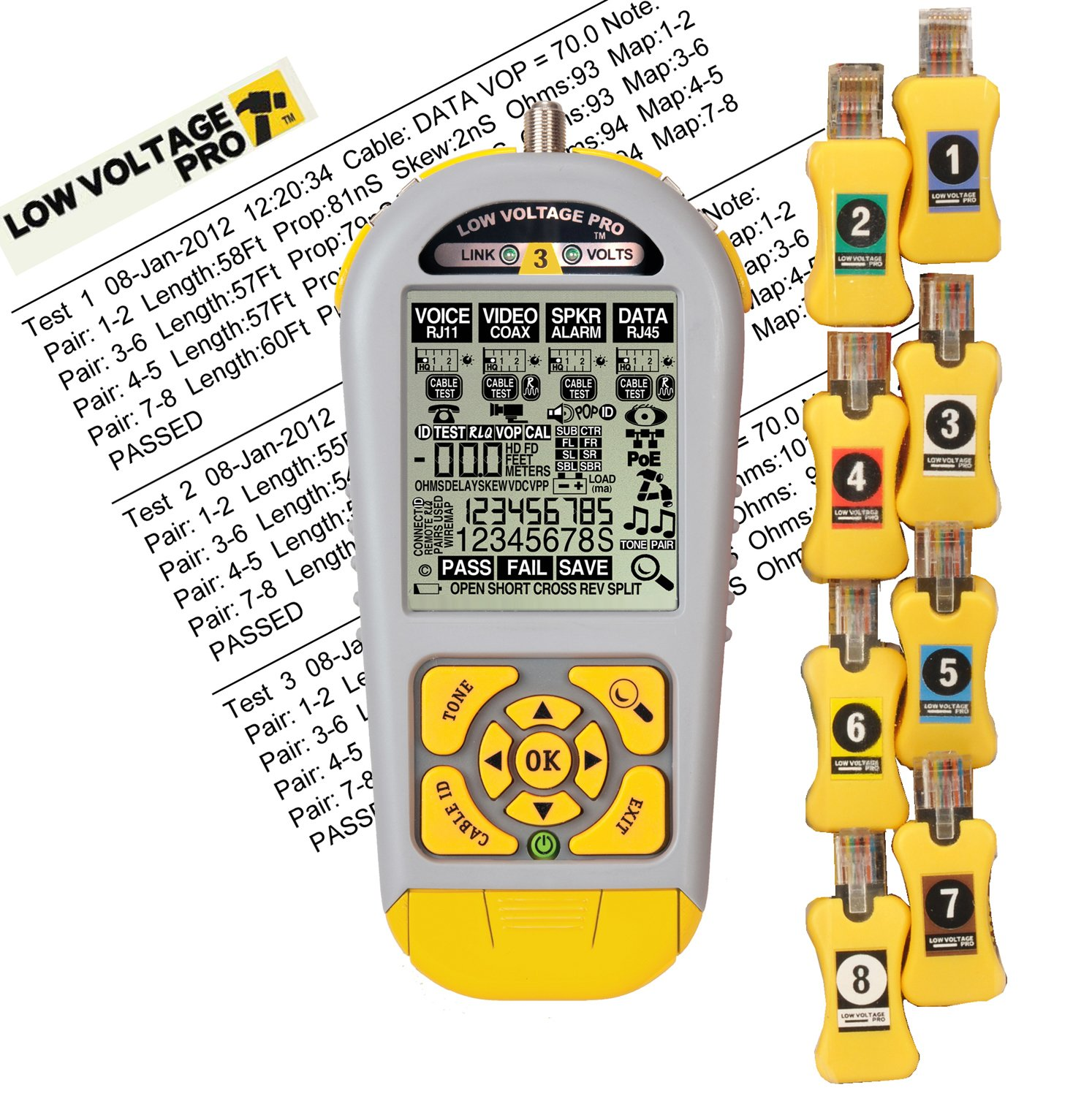 Byte Brothers LVPRO3SR Multifunctional Cable Tester for RJ45 RJ11 and Coax Includes Smart Remotes Triplett