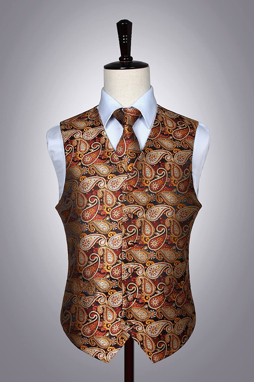 Hisdern Chaleco y corbata de bolsillo con chaleco de flores y panuelos en blanco clasico de los hombres Paisley