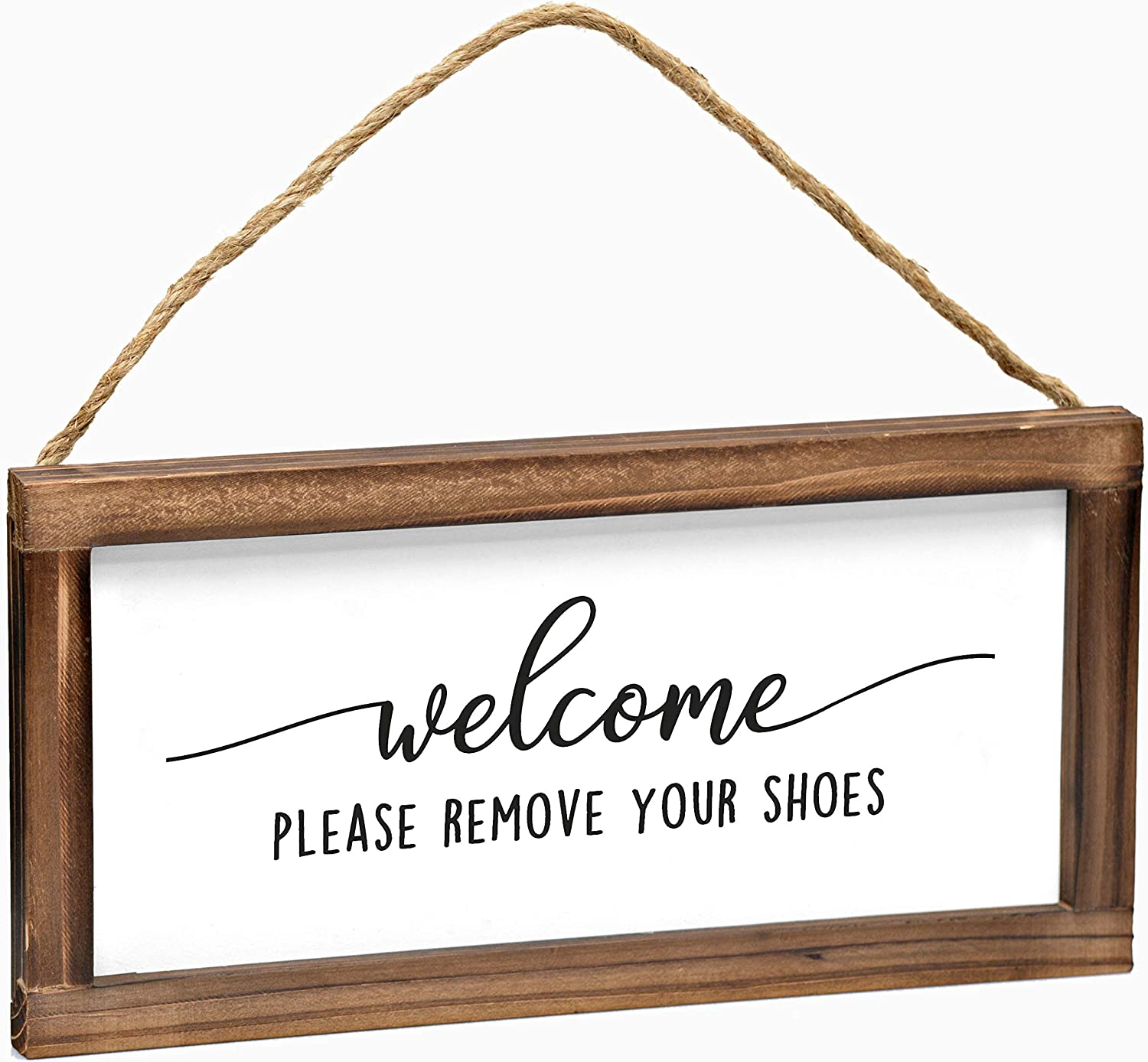 Please Remove Your Shoes Hanging Sign - Rustic Farmhouse Decor For The Home Sign - Wall Decorations For Living Room, Modern Farmhouse Wall Decor, Wall Hanging Sign With Solid Wood Frame - 6x12 Inch