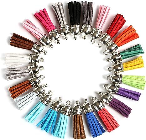 Naler 120 borlas de cuero con borlas de gamuza sintética con tapas de 38 mm para llavero, correas para colgar, decoración de bricolaje, accesorios - ...